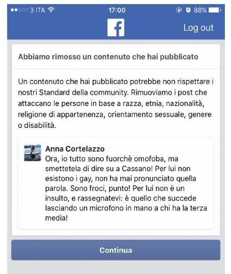 blocco su Facebook